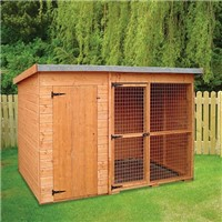 The Laughton is a pent styled dog kennel featuring an integral run. The whole building measures 3.0m long by 1.20m wide by 1.80m high and comes as a flat pack which is easily assembled. It features an enclosed kennel and is supplied with a floor measuring 1.2m by 1.2m. This interconnects with the run using a sliding door. The run area measures 1.2m by 2.4m and is supplied without a floor for hygiene purposes and features a galvanised mesh front and mesh door providing ventilation. It comes complete with all the fixings you will need together with the felt for the roof.